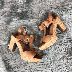 Franco Sarto Fylan T Strap Cork Sandals Heels Sz 7
